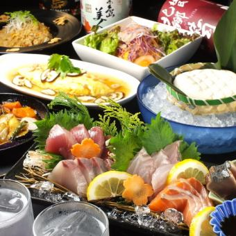 【2H drinking and attaching】 Seafood making · Chicken charcoal fire · Sowed fried rice and all 9 items ■ Collecting course ■ 4200 yen → 3780 yen