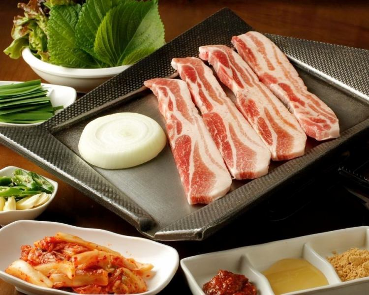 We are also available for private banquets ☆ Perfect for banquets ☆ Beautiful samgyeopsal, plenty of green vegetables, a pungent taste of Blue Tang ♪ Healthy mood ♪ We also recommend a course and drinks!