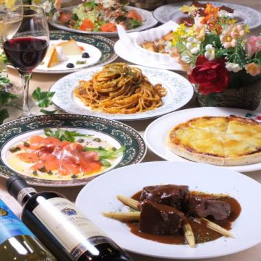 Authentic Italian is affordable ... All 2 items with 8 hour drinks All 5 items → 3980 yen ♪