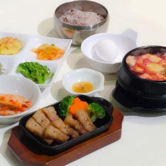 ミニ純豆腐・もち豚サムギョプサルセット