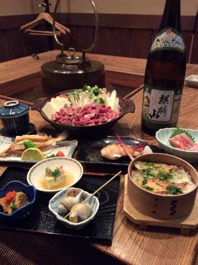 "【Sukiyaki course】 ""Domestic cow's countryside special sukiyaki"" including 7 dishes 2 H All you can drink 5000 yen"