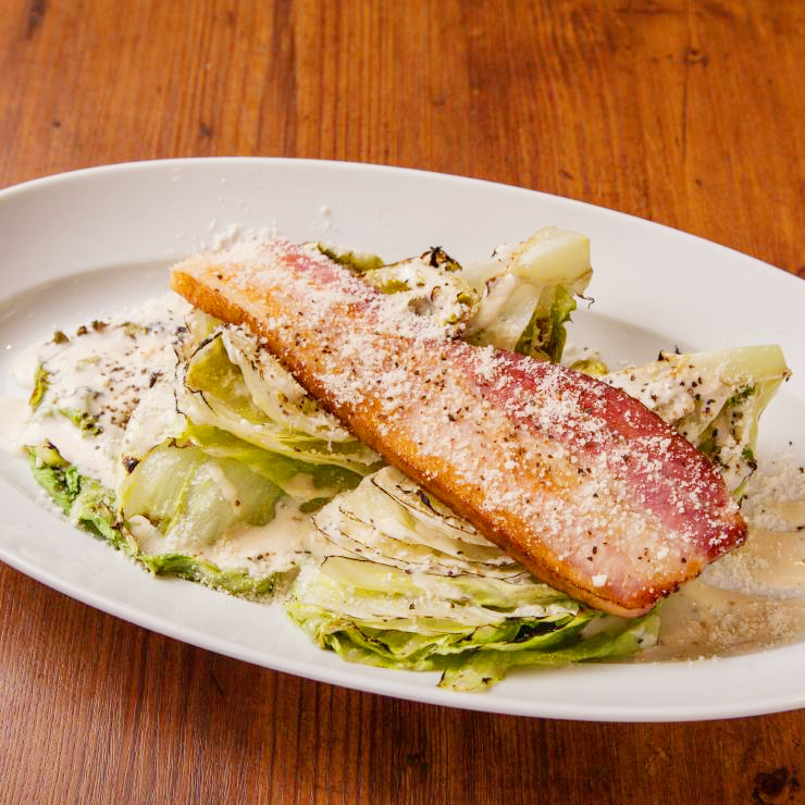 Bacon and lettuce baked Caesar salad