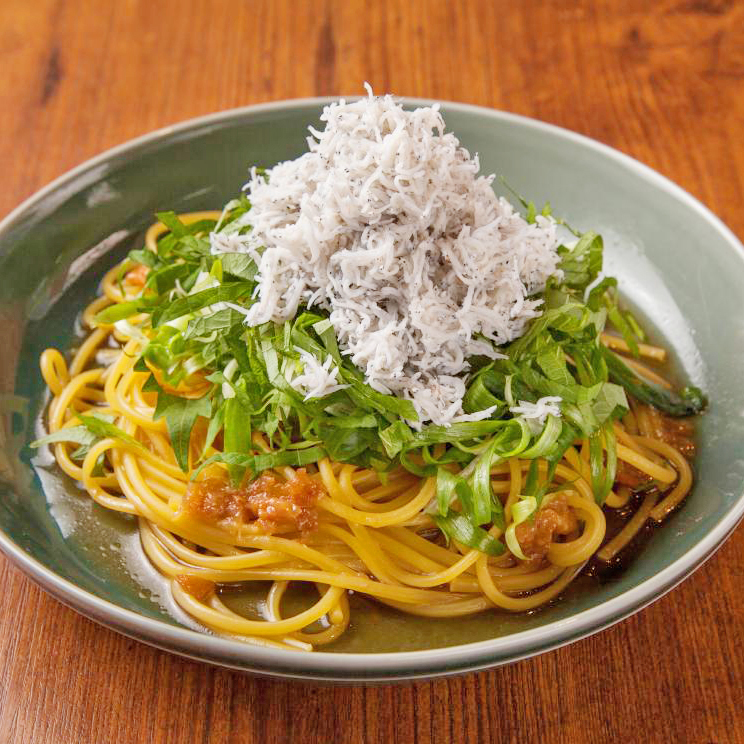 Japanese style pasta with plum meat and plenty of shirasu