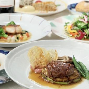 メイン2品(オードヴル、魚、肉)のコース