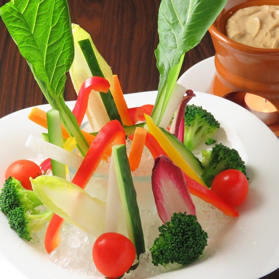 Fresh local vegetable-centered Bagna cauda