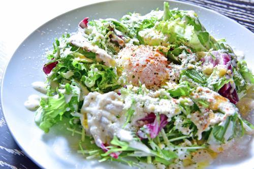 Caesar salad with soft-boiled egg