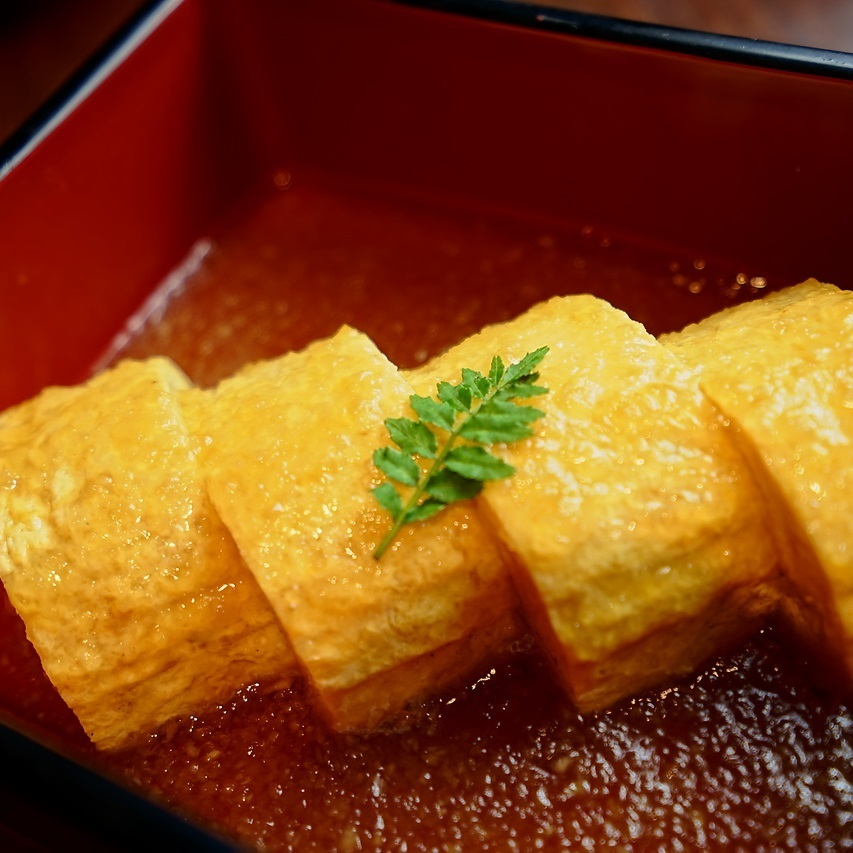 Soup rolls of super rich eggs from Kyoto · Tamba sprinkled with bean paste