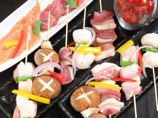 Yakitori & Pork skewer & side menu 120 minutes Eat all you can drink 1980 yen 1780 yen! (Tax not included)!