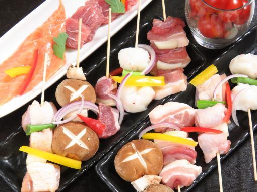 烤鸡肉串&猪肉串&侧边菜单120分钟吃完所有你能喝的1980日元1780日元!(不含税)!