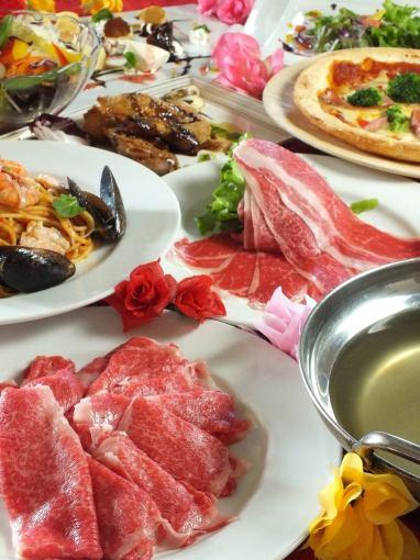 白柳牛和和牛涮鍋120分鐘胡德70個項目所有你可以喝2580日元♪(不含稅)