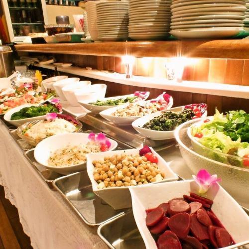 美味しくボリュームたっぷりのシュラスコを新鮮サラダのビュッフェとどうぞ♪