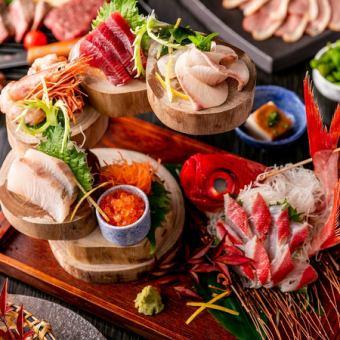 【特選】〈2.5時間飲み放題+9品〉お造り3種盛・牛ロースステーキ・大海老の海鮮寄せ鍋