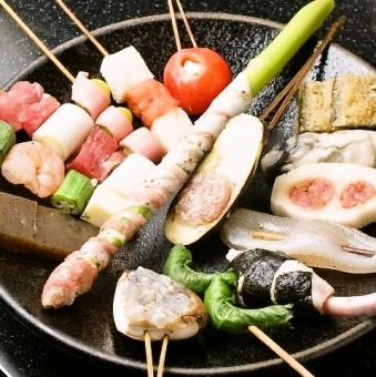 Omachi (wait) skewers 10 species course 3240 yen (tax included)