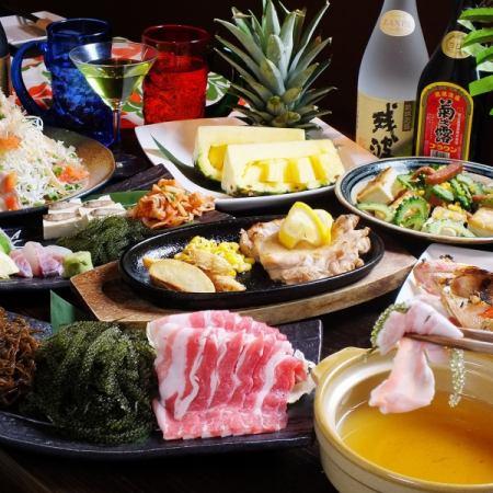 人気No1!県産近海魚バター焼き&島豚しゃぶしゃぶ付コース 5000円→4500円!!