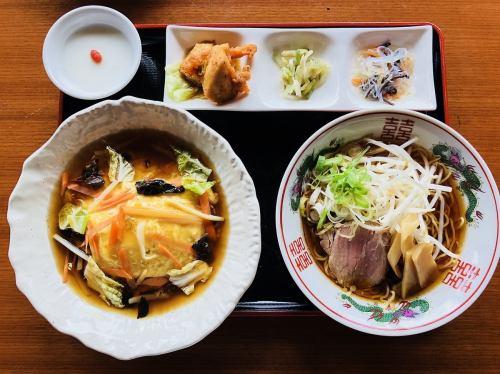 天津飯 ラーメンセット(醤油or豚骨)