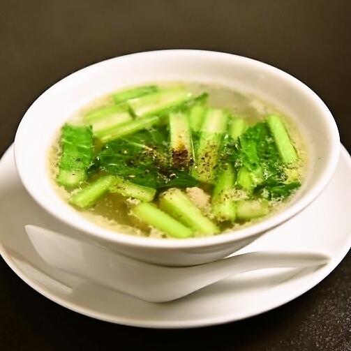 Komatsuna&肉餃子湯