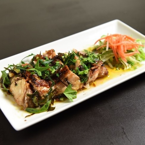 Chicken peach meat with lime leaf grill