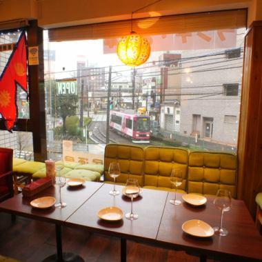 大塚獨特,也可用席位可以吃飯一邊看從窗口中的電車荒川線。每人,日期,午餐家庭,請在廣泛的場景,如告別Mukaekai的使用。