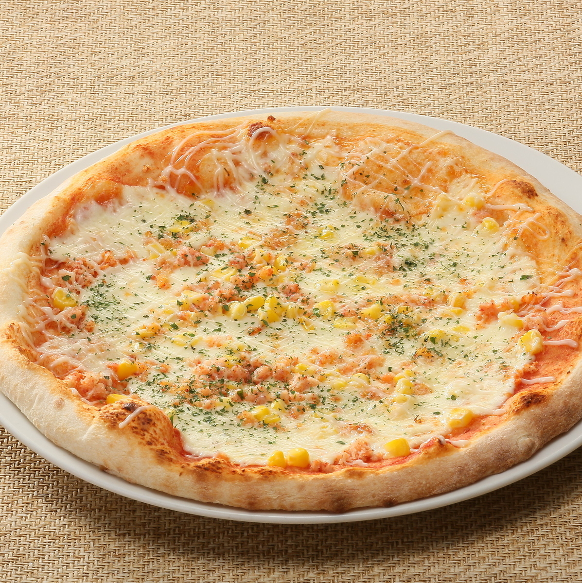 Mayo pizza of crab and corn
