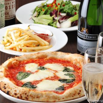 【Friday · Saturday OK! Midnight OK! Second-Order Plan】 Kiln-baked Napoli Pizza etc. 3 dishes 2 hours drink all you can drink 2500 yen