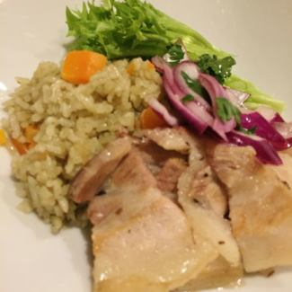 Coriander rice and pork belly