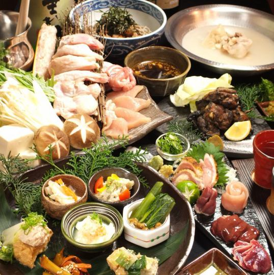 【Drinking more than 25 kinds of sake】 Includes chicken sashimi and soup of specialty baked goods 9 items easy course Drinking attaching 4500 yen ⇒ 4000 yen