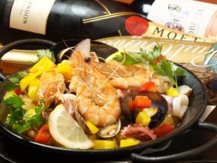 【Spanish course】 Farewell party / Gongkong etc ★ Seafood paella etc 9 items & 2 hours drinking 3990 ⇒ 3490 yen