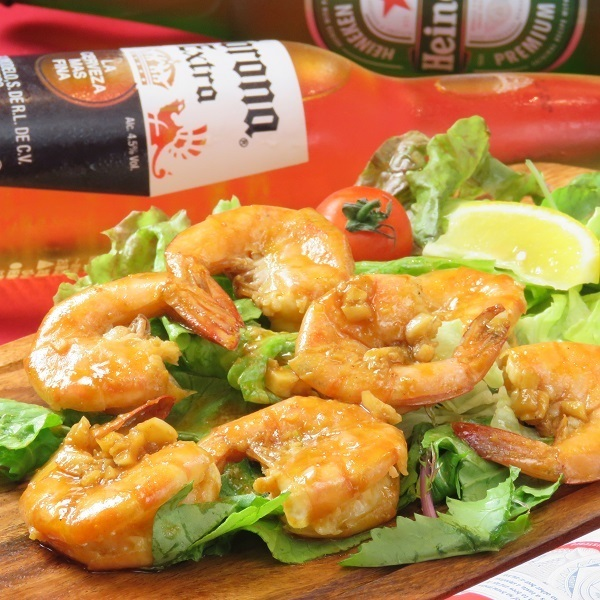 Steamed beer of spicy shrimp