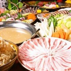 """1/7 ~ 【10 items 4 hours with 2 hours of drinks】 Good choice! """"Kusu no Tree"""" course with pork and cabbage special pot"""