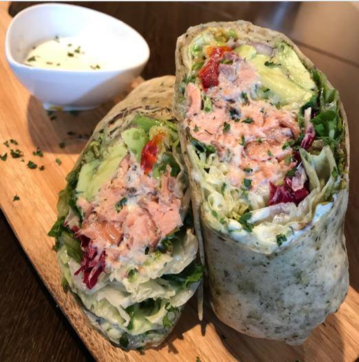 Smoked salmon & avocado wrap sandwich