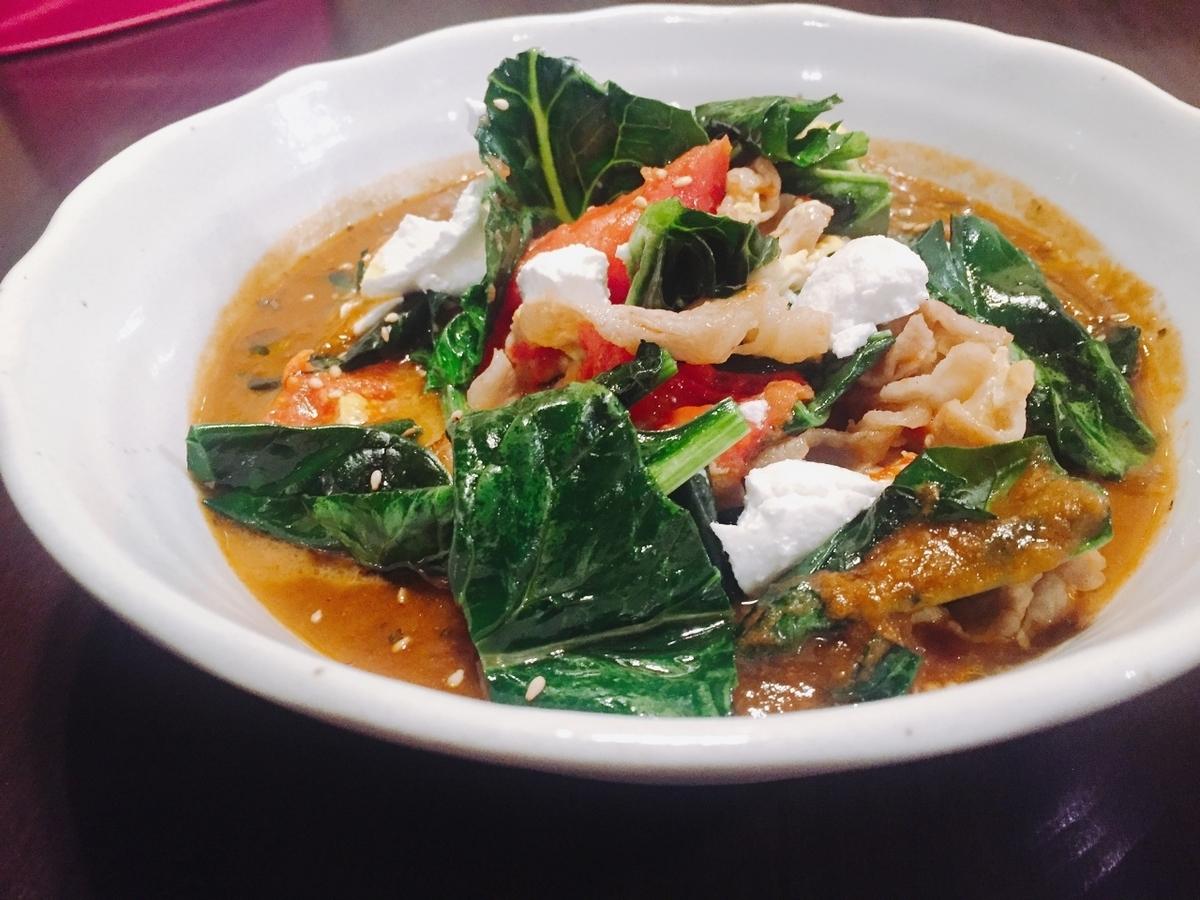 緑の野菜とトマトの豚しゃぶ※下記より【スープ】をお選びください。