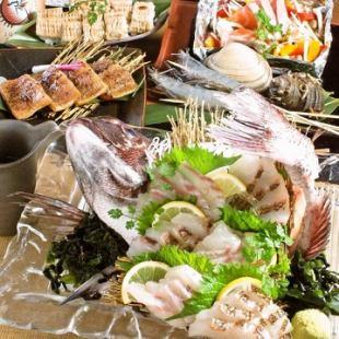 ☆最流行☆令人兴奋的外观充满建筑的鲷鱼[与Akashitei专业课程«所有8个菜»120分钟所有你畅饮[5000日元]