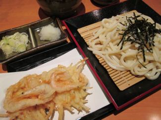 Cold white shrimp Tian Zaru udon