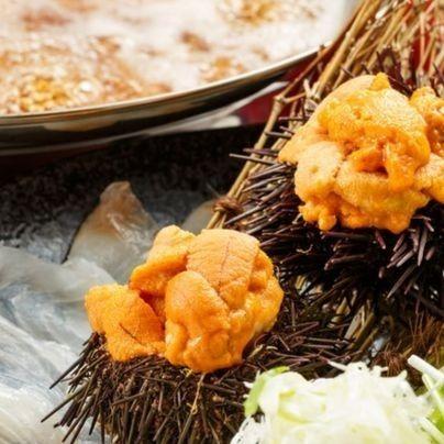 Raw sea urchin shabu-shabu