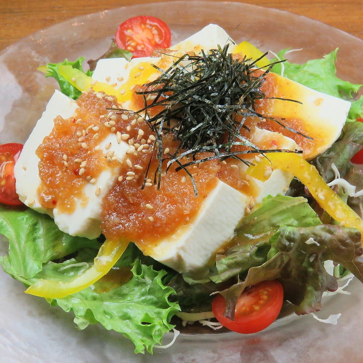 홋카이도 콩 고집 두부 샐러드