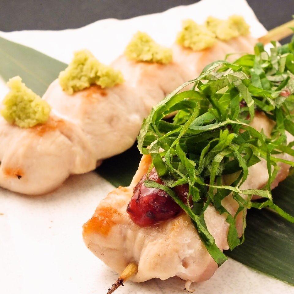 Scissors wasabi skewers (Izuisha book wasabi) / Sasami plum blossoms skewers (Kishu Minami Takumi)
