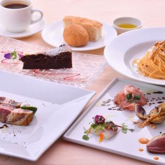 """"""" Celebranch套餐""""开胃菜拼盘,意大利面,主菜,甜点,餐后饮品◆2500日元"""