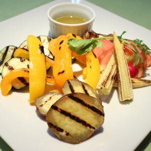 Bagna cauda sauce of grilled vegetables