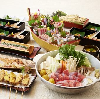【Kaname Snapper's Seafood Chanko or Beef Sukiyaki Course (Treasures buried)】 <7 items in total> 5000 yen with drinks,