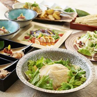 【特產全圓雞腐鍋或黑豬涮鍋套餐】<共7項>所有你可以喝4500日元,