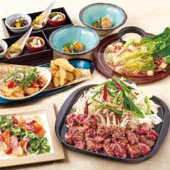 【鐵板燒套餐選擇<牛肉鯰魚或朗姆酒或奶酪>】<7項總計>¥4500無限量飲品,