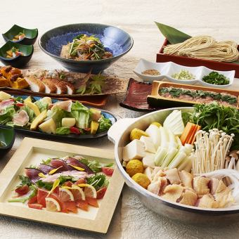 【Steamed chicken and raw chicken pot or brand of swine and seasonal vegetables】 <7 items in total> 4000 yen for drinking,