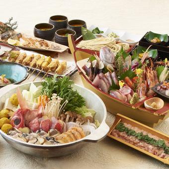 【大型漁船和四個海鮮原料Tsukune chanko鍋套餐】<總共8項> 6000日元無限暢飲,