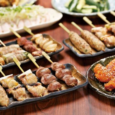 ◎ Banquet which does not need pot! 16th anniversary rush commemoration 【True, Tsudanuma charcoal firewood skewer course】 All 8 items 3h drinks included 4300 yen → 4000 yen!