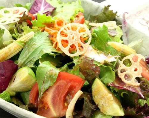 有机蔬菜绿色沙拉自制蔬菜丰富的调料