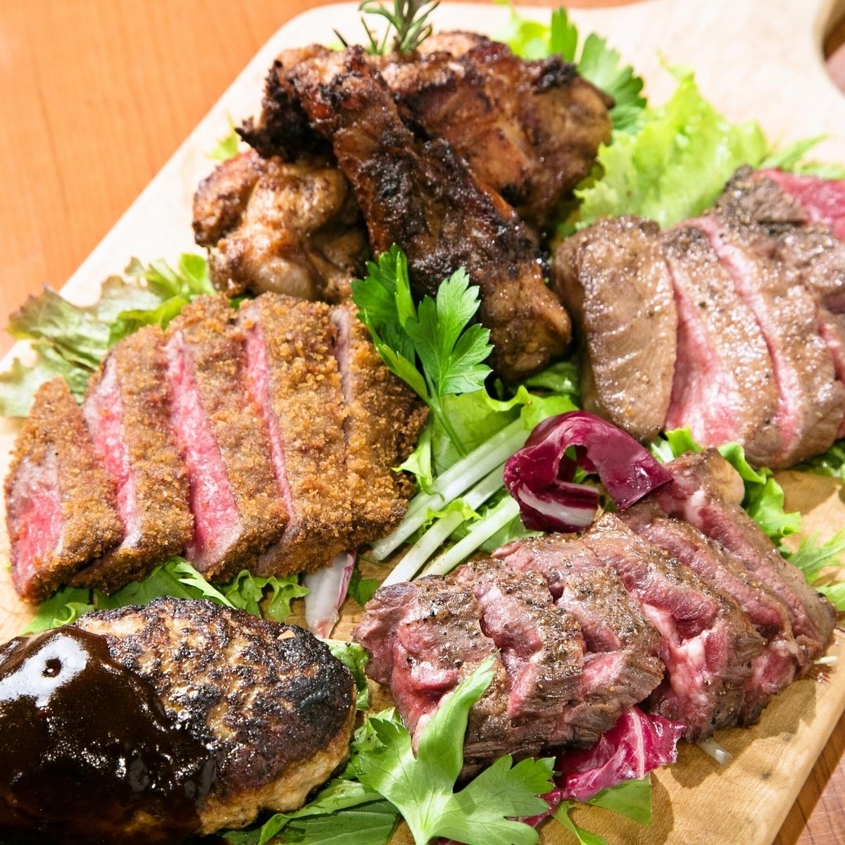 ■5种肉(汉堡牛排,牛排,烤牛排)