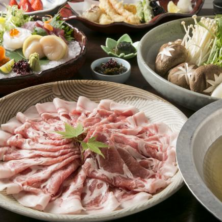 """【2H drinking and attaching】 ◆ Wakayama product sushimi pig ◆ """"Shoini special golden pot course"""" Special dish made from lightly tasted ♪ 4500 yen"""