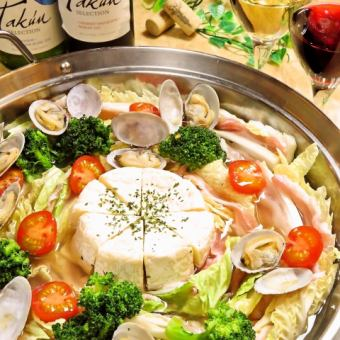 All-you-can-drink hours unlimited ★ Asamic bouillon's Camembert Mille-feuille pot course 4000 yen → Sun - Thur 3500 yen!