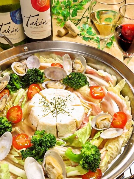 Popular ♪ Instant bamboo ◎ Camembert Mille-feuille Nabe course ♪ Unlimited time with unlimited drinks 4000 yen → Sun ~ Three is 3500 yen!