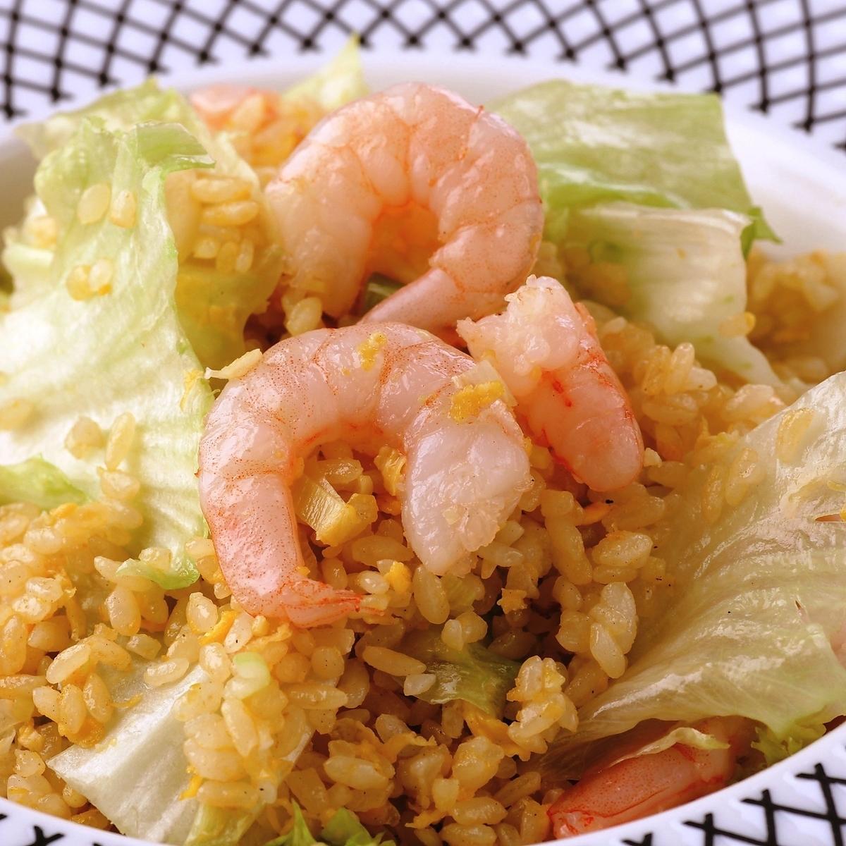 プリプリ海老の葱塩炒飯
